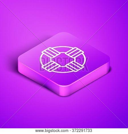 Isometric Line Lifebuoy Icon Isolated On Purple Background. Lifebelt Symbol. Purple Square Button. V