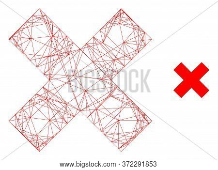 Web Mesh X-cross Vector Icon. Flat 2d Model Created From X-cross Pictogram. Abstract Carcass Mesh Po