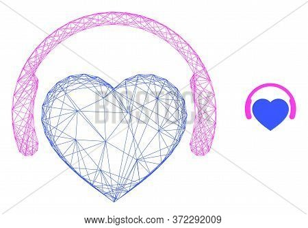 Web Network Favourite Headphones Vector Icon. Flat 2d Carcass Created From Favourite Headphones Pict
