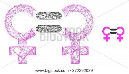 Web Carcass Lesbian Relation Symbol Vector Icon. Flat 2d Carcass Created From Lesbian Relation Symbo