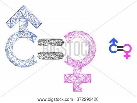 Web Mesh Genders Relation Symbol Vector Icon. Flat 2d Carcass Created From Genders Relation Symbol P
