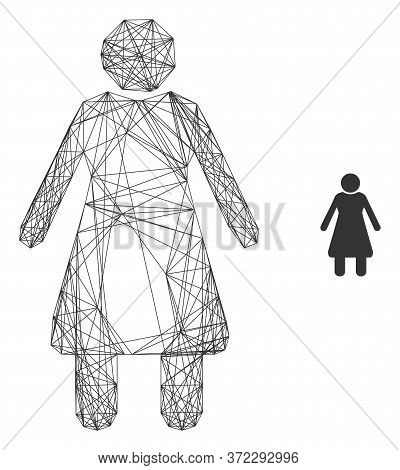 Web Net Old Woman Vector Icon. Flat 2d Carcass Created From Old Woman Pictogram. Abstract Carcass Me