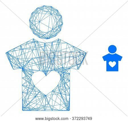 Web Network Lover Boy Vector Icon. Flat 2d Carcass Created From Lover Boy Pictogram. Abstract Carcas