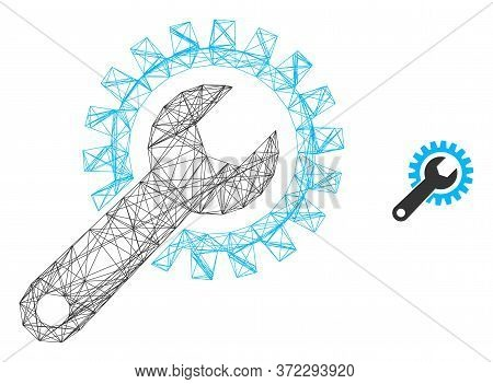 Web Carcass Repair Gear Vector Icon. Flat 2d Model Created From Repair Gear Pictogram. Abstract Carc