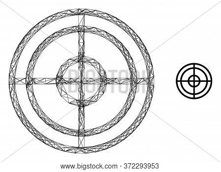 Web Mesh Target Vector Icon. Flat 2d Carcass Created From Target Pictogram. Abstract Carcass Mesh Po