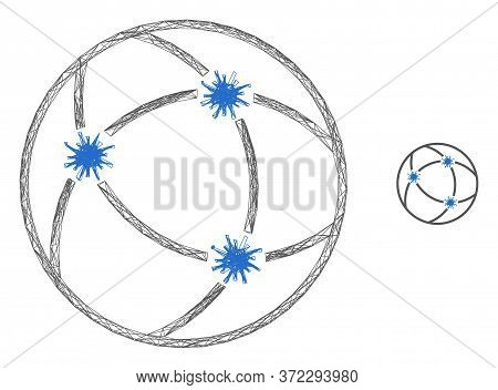 Web Carcass Virus Network Vector Icon. Flat 2d Carcass Created From Virus Network Pictogram. Abstrac