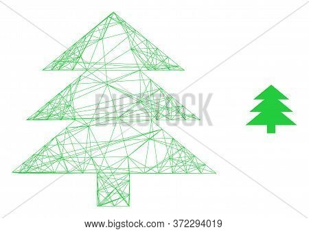 Web Carcass Fir Tree Vector Icon. Flat 2d Carcass Created From Fir Tree Pictogram. Abstract Frame Me