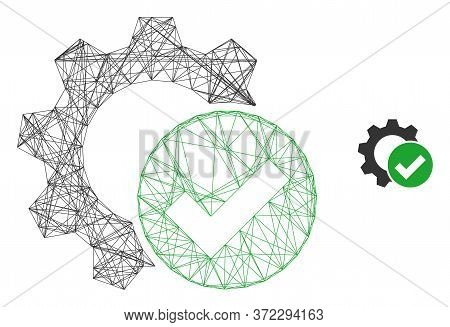 Web Carcass Apply Settings Gear Vector Icon. Flat 2d Carcass Created From Apply Settings Gear Pictog