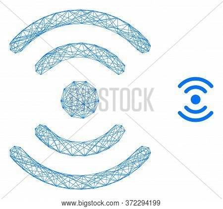 Web Mesh Radio Source Vector Icon. Flat 2d Carcass Created From Radio Source Pictogram. Abstract Fra