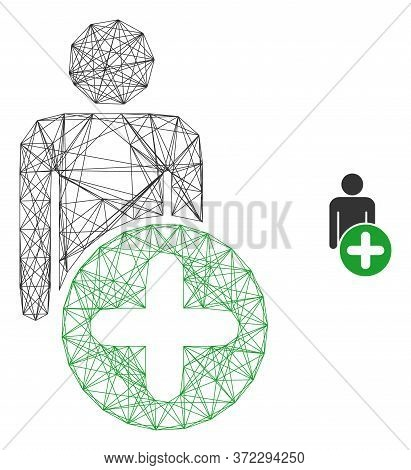 Web Network Add Man Figure Vector Icon. Flat 2d Carcass Created From Add Man Figure Pictogram. Abstr