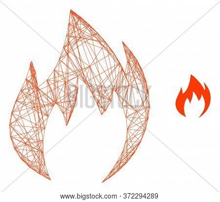 Web Mesh Fire Flame Vector Icon. Flat 2d Carcass Created From Fire Flame Pictogram. Abstract Carcass