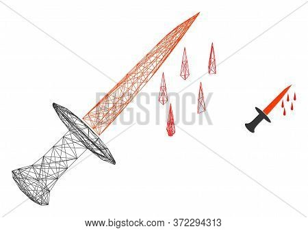 Web Carcass Blood Sword Vector Icon. Flat 2d Carcass Created From Blood Sword Pictogram. Abstract Ca