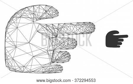 Web Carcass Right Index Finger Vector Icon. Flat 2d Carcass Created From Right Index Finger Pictogra