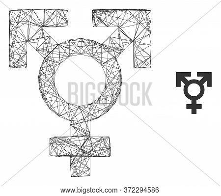 Web Network Polyandry Sex Symbol Vector Icon. Flat 2d Carcass Created From Polyandry Sex Symbol Pict