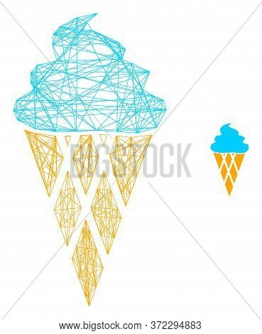 Web Net Icecream Vector Icon. Flat 2d Carcass Created From Icecream Pictogram. Abstract Carcass Mesh