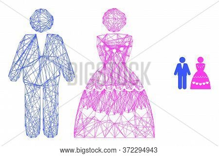 Web Carcass Marriage Couple Vector Icon. Flat 2d Carcass Created From Marriage Couple Pictogram. Abs