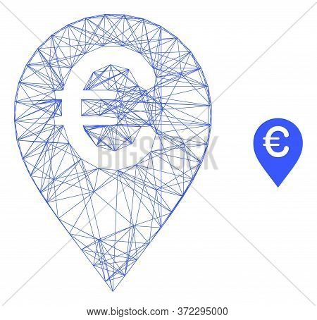 Web Carcass Euro Map Marker Vector Icon. Flat 2d Carcass Created From Euro Map Marker Pictogram. Abs