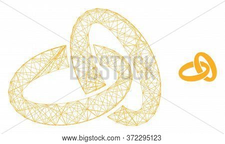 Web Carcass Gold Rings Vector Icon. Flat 2d Model Created From Gold Rings Pictogram. Abstract Carcas