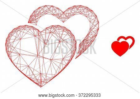 Web Mesh Valentine Hearts Vector Icon. Flat 2d Model Created From Valentine Hearts Pictogram. Abstra