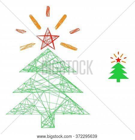 Web Net Shine Christmas Tree Vector Icon. Flat 2d Model Created From Shine Christmas Tree Pictogram.