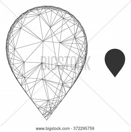Web Net Map Marker Vector Icon. Flat 2d Carcass Created From Map Marker Pictogram. Abstract Carcass