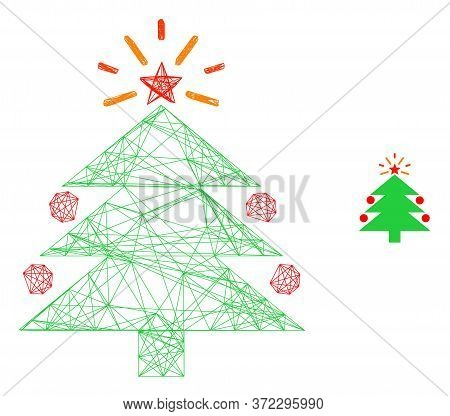 Web Carcass Christmas Fir Tree Vector Icon. Flat 2d Carcass Created From Christmas Fir Tree Pictogra