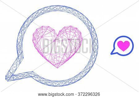 Web Carcass Love Message Vector Icon. Flat 2d Carcass Created From Love Message Pictogram. Abstract