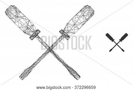 Web Carcass Screwdrivers Vector Icon. Flat 2d Carcass Created From Screwdrivers Pictogram. Abstract