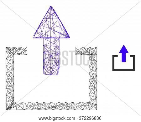 Web Mesh Upload Vector Icon. Flat 2d Carcass Created From Upload Pictogram. Abstract Carcass Mesh Po