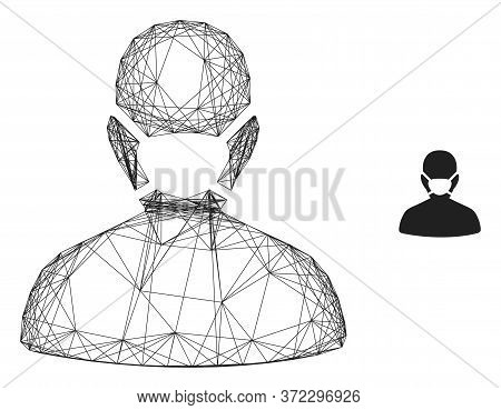 Web Mesh Coronavirus Face Mask Vector Icon. Flat 2d Carcass Created From Coronavirus Face Mask Picto
