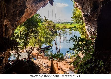 View Of A Lake From Saddan Cave Near Hpa An, Myanmar