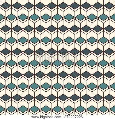 Repeated Diamonds Background. Geometric Seamless Pattern With Polygons Tessellation. Rhombuses And L
