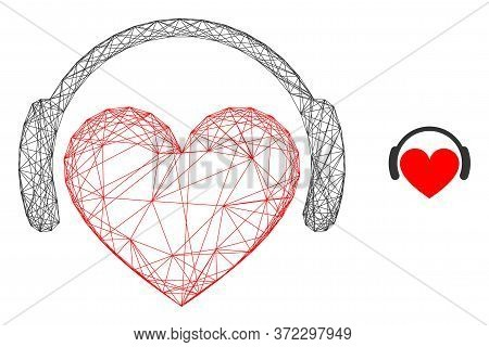 Web Net Love Heart Headphones Vector Icon. Flat 2d Carcass Created From Love Heart Headphones Pictog
