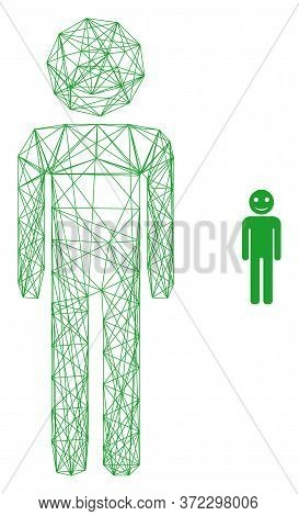 Web Net Happy Person Vector Icon. Flat 2d Carcass Created From Happy Person Pictogram. Abstract Carc