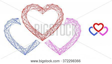 Web Net Triple Love Hearts Vector Icon. Flat 2d Carcass Created From Triple Love Hearts Pictogram. A