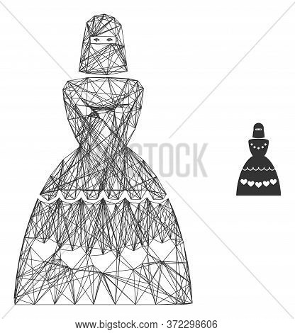 Web Mesh Muslim Bride Vector Icon. Flat 2d Carcass Created From Muslim Bride Pictogram. Abstract Fra