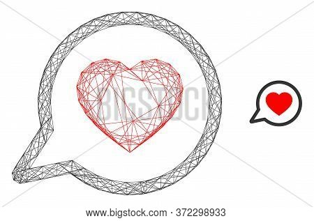 Web Mesh Favorite Message Vector Icon. Flat 2d Model Created From Favorite Message Pictogram. Abstra
