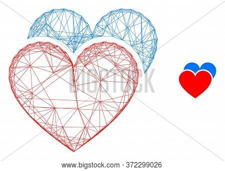 Web Net Love Hearts Vector Icon. Flat 2d Carcass Created From Love Hearts Pictogram. Abstract Carcas
