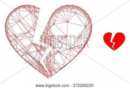 Web Net Broken Love Heart Vector Icon. Flat 2d Carcass Created From Broken Love Heart Pictogram. Abs