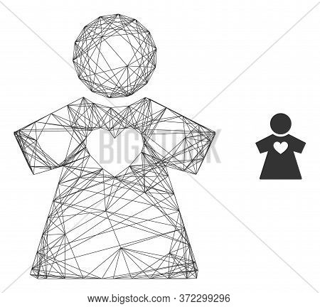 Web Mesh Girlfriend Vector Icon. Flat 2d Model Created From Girlfriend Pictogram. Abstract Frame Mes