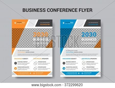 Business Conference Corporate Flyer Brochure Template Design, Abstract Business Flyer, Vector Templa