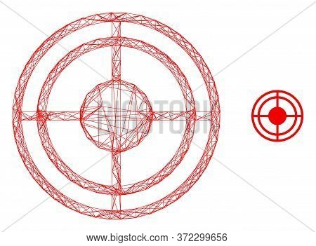 Web Carcass Bullseye Vector Icon. Flat 2d Carcass Created From Bullseye Pictogram. Abstract Frame Me