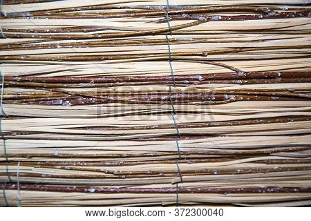 Background Of Vine Twigs Held Together By Metal Wire Horizontally. Backgrounds, Design, Structures,