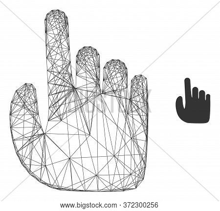 Web Carcass Index Finger Vector Icon. Flat 2d Carcass Created From Index Finger Pictogram. Abstract