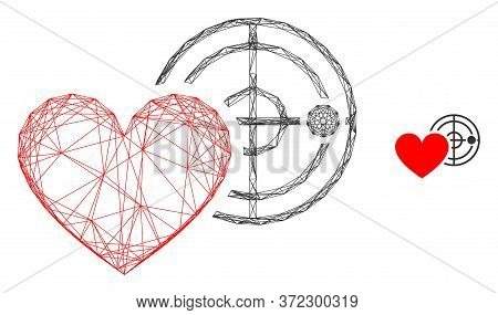 Web Network Love Heart Radar Vector Icon. Flat 2d Carcass Created From Love Heart Radar Pictogram. A