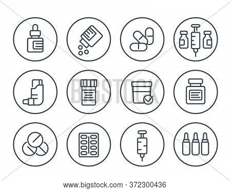 Medicaments, Drugs, Pharmaceutics Line Icons Set, Eps 10 File, Easy To Edit