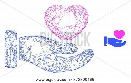 Web Mesh Favourite Heart Offer Hand Vector Icon. Flat 2d Model Created From Favourite Heart Offer Ha