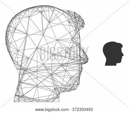 Web Network Man Head Profile Vector Icon. Flat 2d Carcass Created From Man Head Profile Pictogram. A