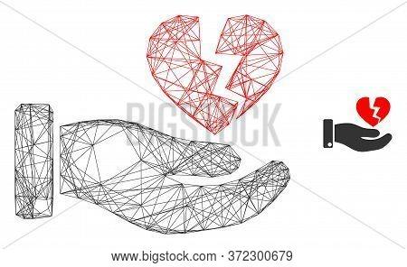 Web Carcass Hand Offer Broken Heart Vector Icon. Flat 2d Carcass Created From Hand Offer Broken Hear