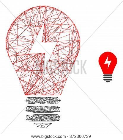Web Network Electric Bulb Vector Icon. Flat 2d Carcass Created From Electric Bulb Pictogram. Abstrac
